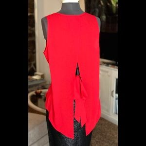 Express Semi-Sheer Fire Engine Red Tie Back Blouse